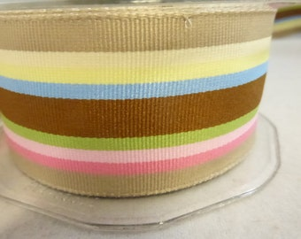 May Arts Striped Grosgrain Ribbon  1 1/2  inch Wide Striped with Brown, Yellow, Pink, Green and Blue