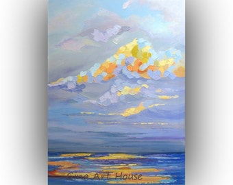 sky painting, sea painting, abstract sky painting, seascape sky art on canvas 24x18 , impasto sky painting, colorful palette knife impasto