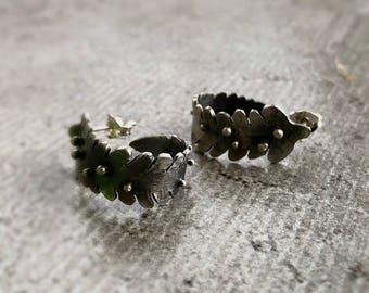 Sterling Silver Organic Fern Leaf Hoops, Unfurl Earrings, Nature earrings