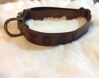 Personalized Brown Leather Dog Collar With Quick-Release Buckle