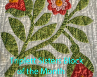 Triplett Sisters BOM: Rose with Two Buds Pattern