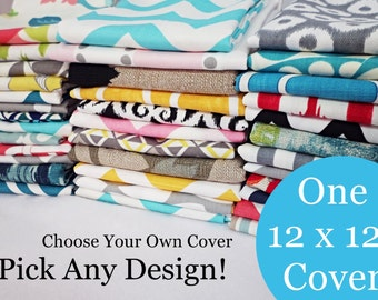 12 x 12 Inch Pillow Cover - One Pillow Cover - Choose Your Own Design - Pillow Sham - Accent Pillow - 12 Inch Pillow Cover