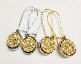 Druzy Drop Earrings in Sparkling Gold, Metallic Druzy Earrings, Gold Druzy Jewelry, Gold Druzy Earrings, Silver and Gold Druzy Jewelry