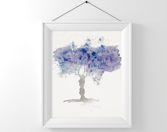 Downloadable Wall Art, Fine Art Tree painting Purple and Blue, Instant Digital Download Tree Watercolour purple