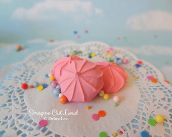 FAUX Cookie Meringue Strawberry Pink Set Fake Food Prop Photo Pastel Kitchen Decor Display