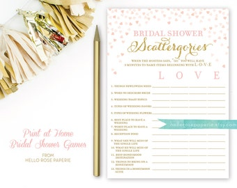 Pink and Gold Bridal Shower Games . Scattergories Game . Bridal Shower Games Printable Instant Download . Glitter Confetti Hearts