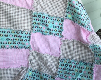 Owls and gingham flannel baby rag blanket