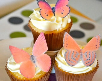 Wedding Cake Topper Orange Edible Butterflies - Edible Butterflies for Wedding Cupcakes - Large Oranges
