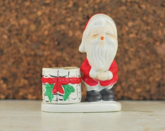 Jasco Christmas Luvkins Santa Candle Holder, Christmas Votive Holder Santa Figurine, Hand Painted Porcelain Holiday Candle, Toothpick Holder