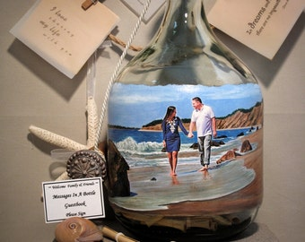 Personalized Guestbook Alternative, Messages In A Bottle Guestbook, Hand Painted Bottle With Your Photo, Chalkboard Paint Back, Decanter