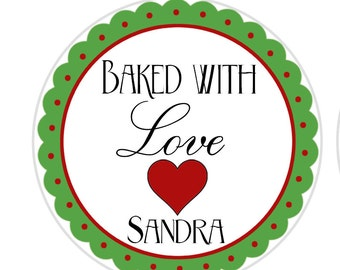 24 STICKERS Baked With Love Labels, Cookie Stickers, Baking Stickers, Personalized Sticker, Kitchen Stickers, Baking Labels (713)
