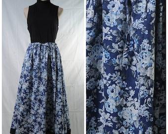Vintage blue white rose printed ankle length full skirt in cotton