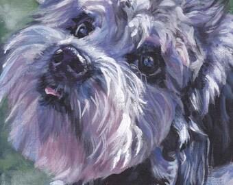 """Dandie Dinmont Terrier portrait art CANVAS print of LA Shepard dog painting 8x10"""""""