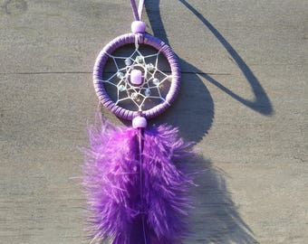 Handmade mini small dream catcher purple
