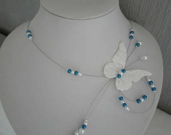 linen lace Butterfly bride necklace white pearls and dark blue evening wedding ceremony