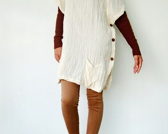 NO.82   Cream Double Cotton Gauze Wide Stand Collar Tunic Top-Cape-Vest