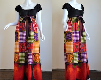 1970s Young Edwardian by Arpeja Peasant Style Maxi Dress