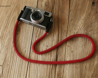 Cool Black leather fleck red Climbing rope 10mm handmade Camera neck strap