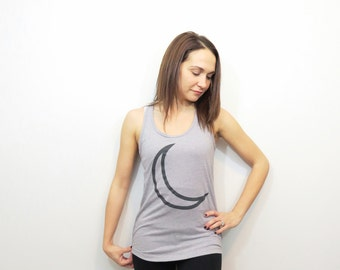 gray moon tank top. womens racerback tank. moon yoga tank top. crescent moon. junior size workout tank. gray athletic top. gray workout tank