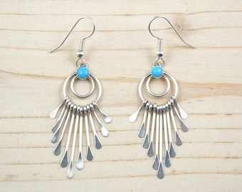 Women earrings, Navajo, 925 Silver, sterling, turquoise, dangle earrings.