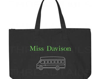 Personalized Bus Driver Tote Bag. School Bus Driver Gift.  Bling Bus and Personalized Name.  Driver Appreciation Gift idea. Zipper carryall.