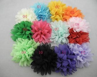 5 pcs 3.9'' inch Chiffon Flower - DIY Headband Accessories- Fabric Flower -Flower Accessory