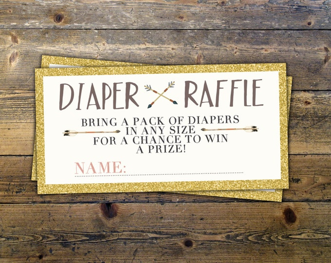 POW WOW Baby Shower, diaper raffle ticket, Teepee Baby shower, boho baby shower, BOHO insert, Tribal, shower game, diaper insert