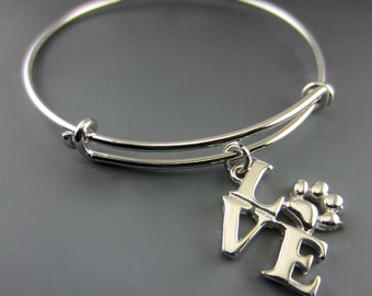 I Love Paws Silver Charm on Expandable Bangle bracelet