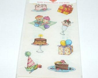 Vintage Mary Engelbreit Stickers nouveau dans le paquet d'anniversaire gâteau Cupcakes cadeau Ballons 8 Stickers