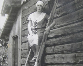 Vintage 1920's Pretty Woman Atop A Ladder RPPC Real Photo Postcard - Free Shipping