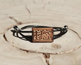 Bracelet Rectangle Bois Récupéré et Argent - Labyrinthe