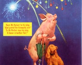 1950s Lawson WOOD PIG and FIREWORKS print ideal for framing