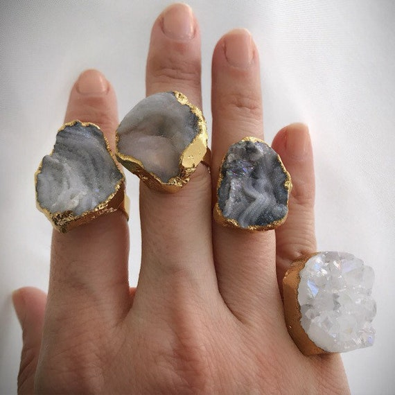 Druzy Quartz Statement Rings, Boho Jewelry