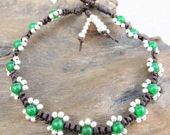 Flower Bracelet- 4mm Green Jade Bead Woven Bracelet with Silver Color Bead