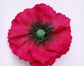 Red Poppy Brooch Poppy Flower Brooch Red Poppy Summer Accessory Red Brooch Red Floral Brooch