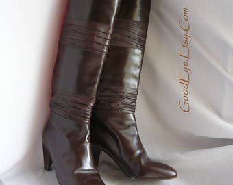 Vintage Leather STOVEPIPE Knee Boots Italy / size 6 .5 M  Eur 37 UK 4  / Low Heel Dark Brown / Neiman Marcus 90s