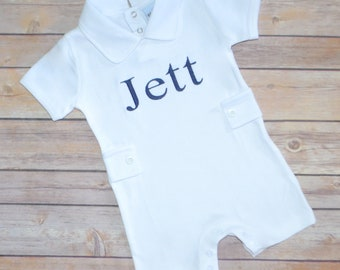 Newborn boy outfit, coming home outfit, baby boy romper, monogrammed summer outfit, boys summer romper, boys beach romper, monogram outfit