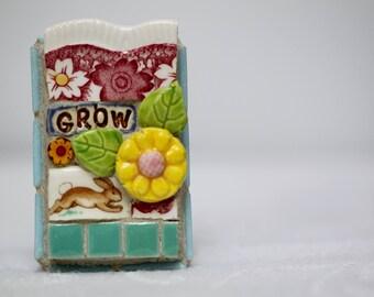 GROW, BUNNY, rabbit, mosaic wall art, gift, mosaic, mosaic art