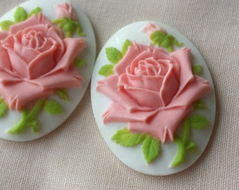 2pcs 30x40mm pad resin rose Cabochons Cameo RO005c
