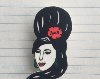 Amy Winehouse brooch in shrink-plastic