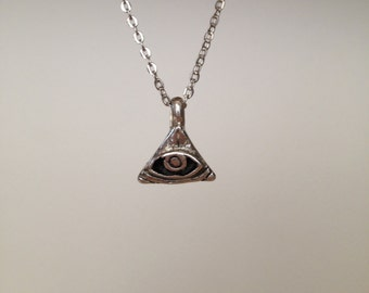 All-Seeing Eye Pendant Necklace in Sterling Silver - READY TO SHIP