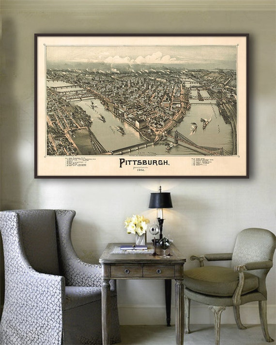 1902 Pittsburgh panorama Vintage Pittsburgh map home decor