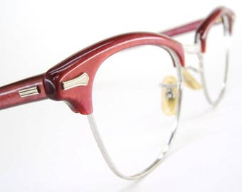 Vintage Red Cat Eye Glasses Sunglasses Eyeglasses Frame Shuron 12Kt Gf