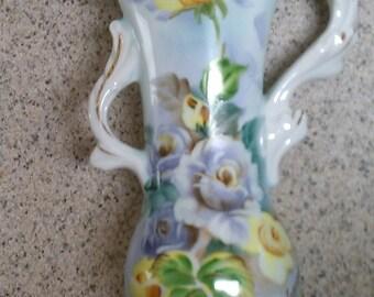 Vintage Nagasaki china floral vase, Floral vintage vase, Floral hand painted vase, Vintage hand painted vase