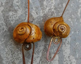 Gastropod headpins, fossil jewelry components, rustic earrings, organic gastropods