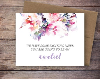 Printable You're Going to be an Auntie, Aunt,  Pregnancy Announcement - Instant Download - We're Pregnant - Expecting Baby - Jessica