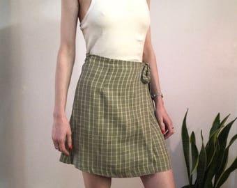 Vintage Plaid Wrap Skirt, Size Medium