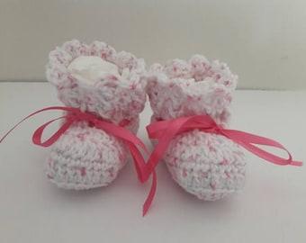 hand crocheted baby booties, pink