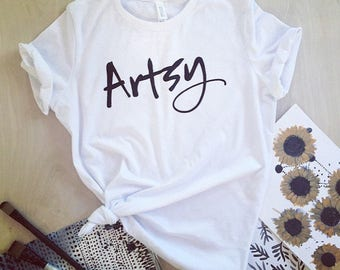 Artsy T-shirt - screen printed - women's sizes S, M, L, XL, 2X
