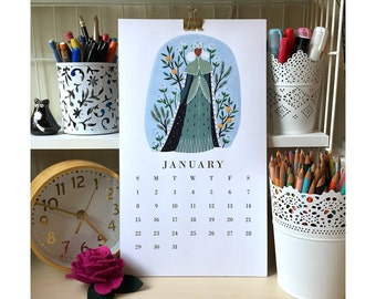 2017 Wall Calendar / Ladies of the Month / Floral Calendar / Wall Calendar / Desk Decor / Desk Art / Office Decor / Art Calendar